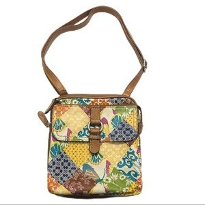 Fossil Crosstown Crossbody Bag Patchwork Leather